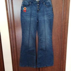 Flared Embroidered Jeans Floral Pockets Blue Denim